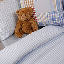 Gingham Flannel Cot Bed Duvet Cover Set
