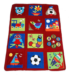 Patchwork Travel Playmat - BERRY RED - baby care