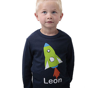 Personalised Navy Rocket T-Shirt