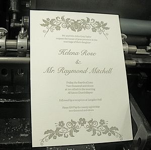 Flourish Letterpress Wedding Invitation - invitations