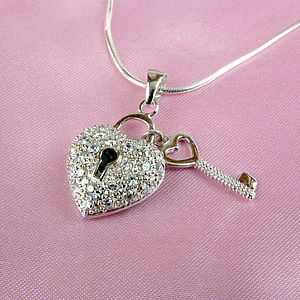 Silver Heart And Key Charm Necklace