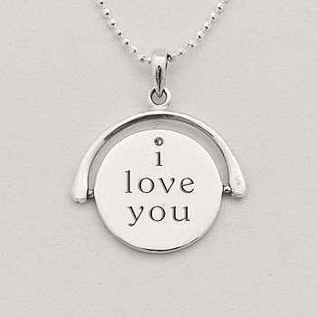 Silver Spinning 'I Love You' Necklace