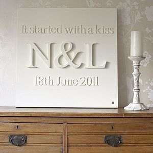 Personalised 'It Started With A Kiss' Canvas - pictures, prints & paintings
