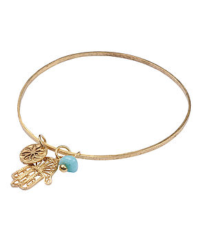 Fatima Bangle Gold Plated With Amazonite