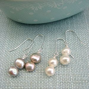 Double Pearl Silver Earrings - earrings