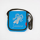 Personalised Children's Messenger Bag - Small, Aqua Blue with Silver