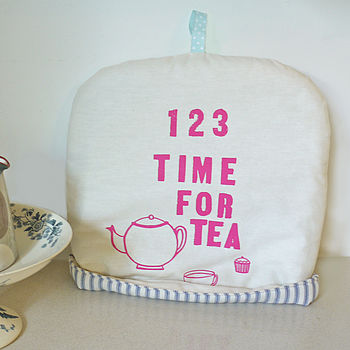 Pink 'Time For Tea' Tea Cosy