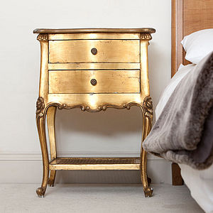 Gold Gilt Bedside Cabinet - furniture