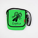 Personalised Children's Messenger Bag - Small, Green with Black print