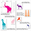 Safari animals dimensions chart