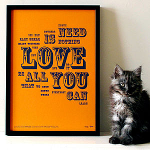 'All You Need Is Love' Letterpress Print