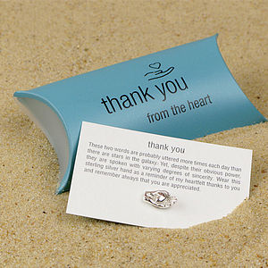 Silver Thank You Keepsake - charm jewellery