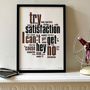 'Satisfaction' Letterpress Print