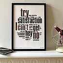 'Satisfaction' Letterpress Print