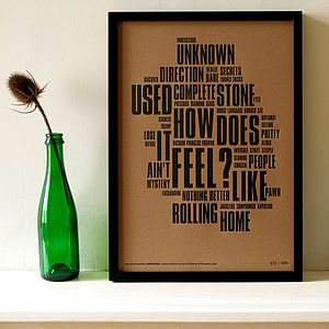 'Like A Rolling Stone' Letterpress Print - music-lover