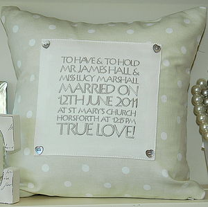 Wedding And Anniversary Keepsake Cushion - embroidered cushions