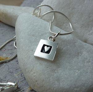 Silver Heart And Square Necklace - necklaces & pendants