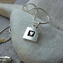 Silver Heart And Square Necklace