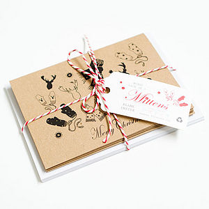 Christmas Card Pack Rustic Mittens