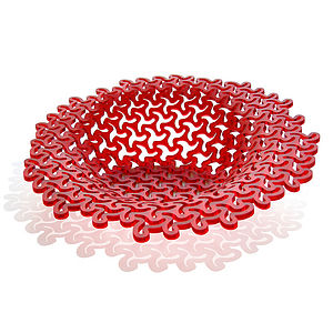 Chilli Red Acrylic Decorative Bowl With Patterned Cuts - dining room