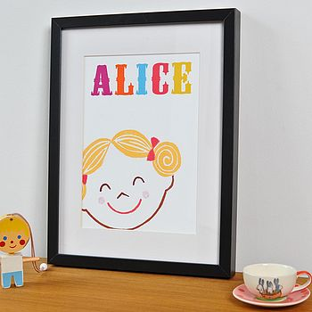 Personalised Happy Girl Print
