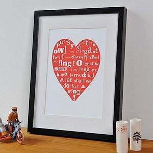 Owl And Pussycat Heart Print - anniversary gifts