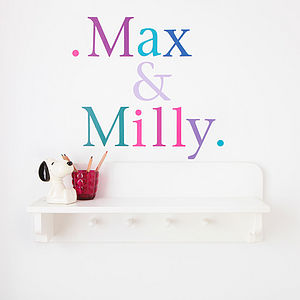 Personalised Letter Stickers Bespoke Colours - bedroom