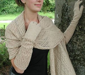Baby Alpaca Lace Knit Gloves - scarves & gloves