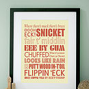 Personalised Yorkshire Sayings Art Print