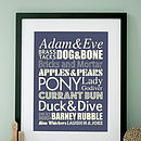 Personalised Cockney Rhyming Slang Art Print