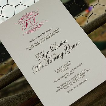 Letterpress Monogram Invitation