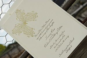 Butterfly Letterpress Wedding Invitation - wedding stationery