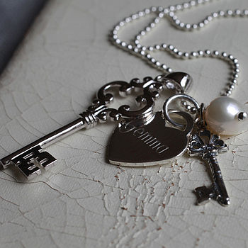 Personalised Silver Vintage Keys Necklace