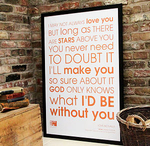 WOW 'Love Actually' Personalised Framed Print - art & pictures