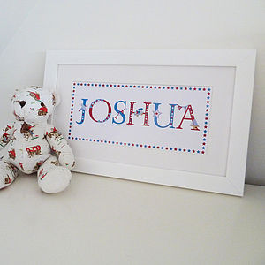 Personalised Vintage Style Child's Name Print - gifts for babies