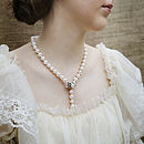 Cultured Large Pearls Necklace Rose Clasp