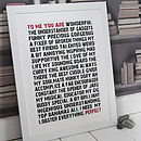 Personalised 'To Me You Are...Perfect' Print