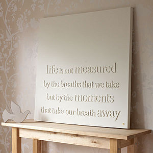 Personalised 'life is not measured' Canvas - living room