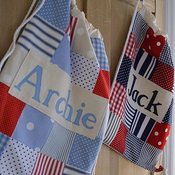 Personalised Boy's Patchwork Drawstring Bag