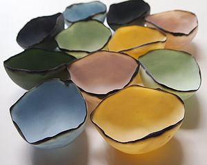 Coloured Porcelain Tea Light Shells - table decoration