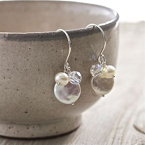 Pearl And Crystal Earrings - earrings