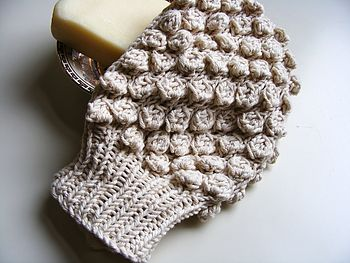 Handknit 100% Organic Cotton Bath Mitt