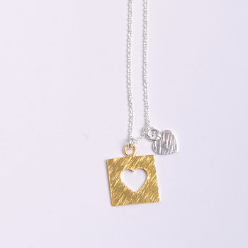 Double Heart Gold & Silver Necklace