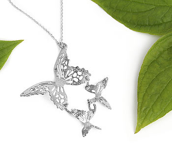 Triple Butterfly Silver Pendant Necklace
