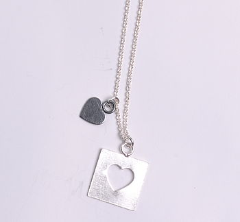 Ace Of Spades Silver Heart Necklace
