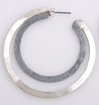 Oxidised Silver Hoop Earrings