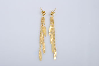Leaf & Chain Drop Earrings