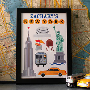 Personalised New York Print - canvas prints & art for children