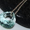 Aquamarine Heart Quartz Pendant Necklace