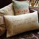 Hand Embroidered Quote Cushion